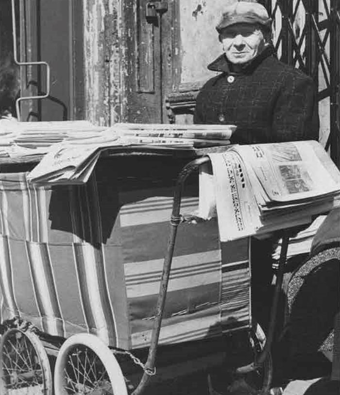 Yiddish news paper pushcart stand in the historic Brownsville Jewish community
